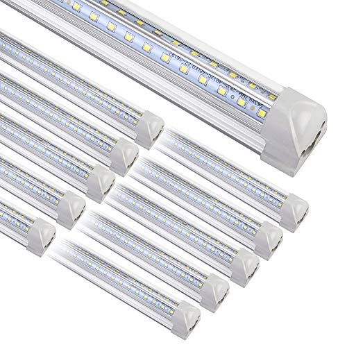 8FT LED Shop Light Fixture, 10 Pack T8 Integrated LED Tube Lights, 72W 9500LM 6500K High Output Clear Cover, V Shape 270 Degree LED Lighting for Garage Warehouse, Upgraded Shop Lights Plug and Play