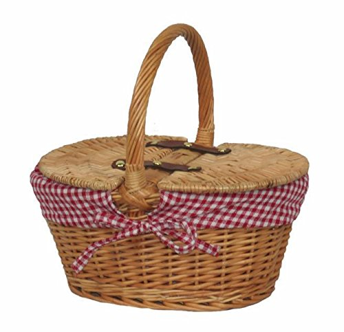 Red Hamper Wicker Willow Child's Lined Oval Lidded Picnic Basket