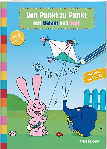 Von Punkt zu Punkt mit Elefant und Hase: Elefantastischer Malspaß für Kindergartenkinder (Rätsel, Spaß, Spiele)