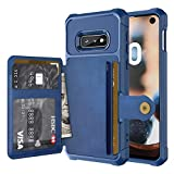 Ranyi Galaxy S10E Case, Galaxy S10 Lite Case, Magnetic Absorption Wallet Back Cover [4 Card Slots] Shock Absorbing Full Body Protective Wallet Case for Samsung Galaxy S10E / S10 Lite (Blue)