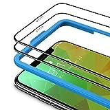TAMOWA (2 Pezzi Vetro Temperato per iPhone 11 PRO Max/XS Max, 3D Copertura Completa Pellicola Protettiva in Vetro Temperato per iPhone 11 PRO Max/iPhone XS Max (Telaio di Installazione Incluso),Nero