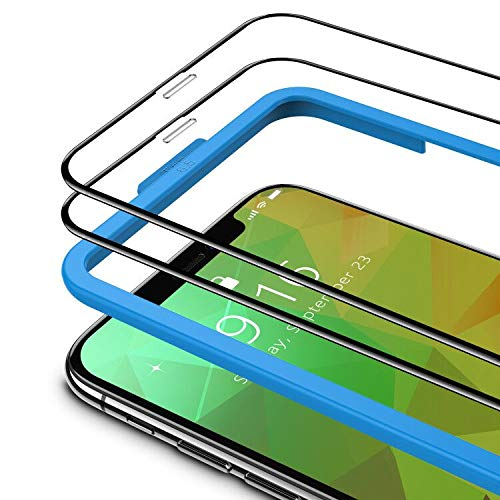 TAMOWA Protector de Pantalla para iPhone 11 Pro MAX/iPhone XS MAX (2 Piezas), 3D Cubierta Completa Vidrio Templado 9H Cristal Templado Premium con Kit de Instalacións (Negro)
