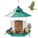 E-More Comedero para pájaros en el Exterior, Comedero para pájaros de plástico para Colgar al Aire Libre con Techo en Forma de hexágono, Comedero para pájaros Grande (Verde)