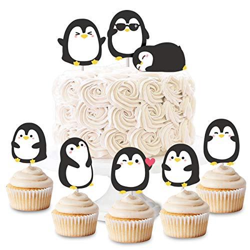 Kreatwow Pinguin Cupcake Toppers Picks für Jungen Mädchen Geburtstagsparty Baby Shower Supplies 24 Pack