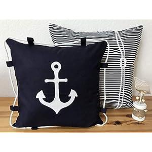 1 Maritime Kissenhülle, Kissenbezug, Landhausstil Kissen * Anker * weiß/blau