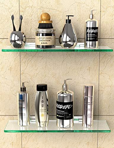 GeekDigg 2 Sets Bathroom Glass Shelf, No Drilling Shower Caddy Wall Mounted Rectangular Tempered Glass Bathroom Storage Organizer Shelf with Aluminum Bracket for Bathroom, Kitchen, Laundry