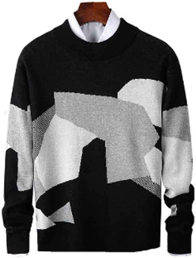 ZYING Mens Casual Sweater Fit Knitted Patchwork Color Mens Slim Sweaters Cotton Long Sleeve Round Collar Male Warm Pullovers (Color : Style 1)