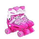 Miarui Patins À roulettes Réglable Enfants LED Clignotante Chaussures à Skates Patins à roulettes Roller Quad Enfant à Taille réglable pour Enfants idéals pour débutants,Rose,L(37~42)