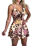 Amiliashp Womens Floral Rompers Sexy V Neck Tie Front Boho Shorts Summer Beach Short Jumpsuit Playsuit Onesies (Pink, XL)