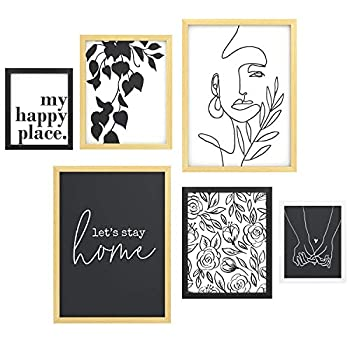 ArtbyHannah Photo Kit with Framed Decorative Minimalist Line Wall Art Decor Art Prints & Hanging Template Gallery Wall Frame Set,6Pcs Abstract Picture Frame Collage Set for Living room or Bedroom Decoration