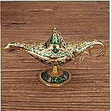 OMMO LEBEINDR Traje Genie Golden Green Classic Vintage Aladdin Ligera aleación de Zinc Apoyo mágico de la lámpara de Mesa Decoración Hogar