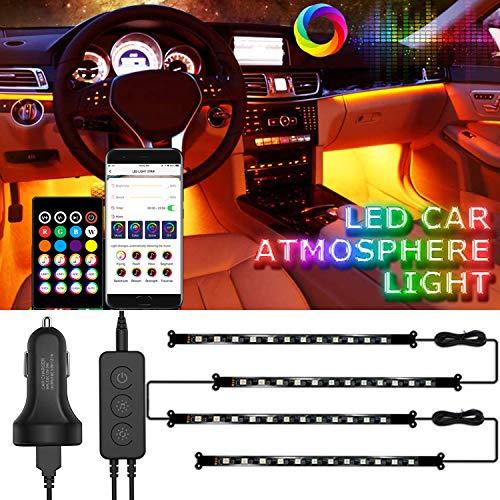 LED Innenbeleuchtung Auto, Auting Innenraumbeleuchtung Auto, 48 LED Mehrfarbige Ambientebeleuchtung, mit APP Control & Remote Control mit Zigarettenanzünder, DC 12V