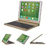 2017 iPad Pro 10.5 iPad Air 2019 3rd case with Keyboard 360 rotatable 180 Flip Wireless Smart Folio Swivel Hard Shell Cover Stand Auto Sleep/Wake up Black