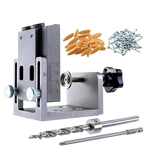 ViewSys 9mm Aluminum Alloy Pocket Hole Jig Set Dowel Drilling Hole Kit Carpentry Punch Locator Woodworking Drill Guide Tool Woodworking Tools