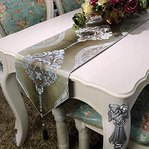 Camino de mesa, estilo vintage, de lujo, telar jacquard, color dorado, azul, moderno, minimalista, con borlas, para decoración de mesa de café, para bodas, hogar, decoración de mesas, 30 cm x 250 cm