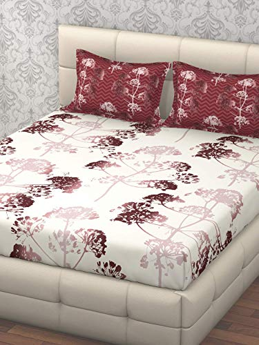 Trident 144 TC Cotton Double Bedsheet with 2 Pillow Covers - Queen Size, Pink