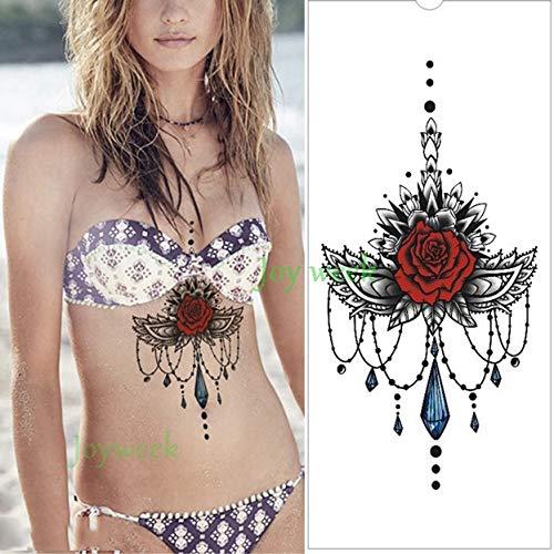 tzxdbh wasserdichte Tattoo Sticker Clock Flower Tatoo große Größe Tatto auf Brust Brust Taille für Frauen Girl-in Tattoos aus Schokolade