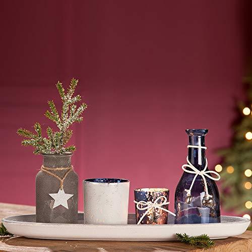 GILDE Arrangement de table de Noël avec plateau, vases et photophores, 39 cm, gris et bleu