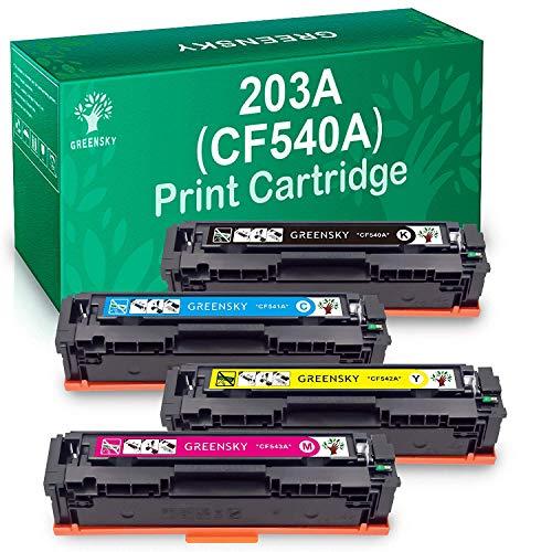 Greensky Sostituzione Cartuccia Toner Compatibile per HP CF540A 203A 203X CF540X per HP Laserjet Pro MFP M281fdw M280nw M281fdn M281dw M281cdw M281 M280 per HP Laserjet Pro M254nw M254dn M254 (4 PK)
