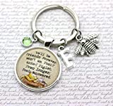 Winnie The Pooh, We'll Be Friends Forever', Personalised Pooh Bear and Piglet Quote Keyring, Initial and Birthstone Crystal