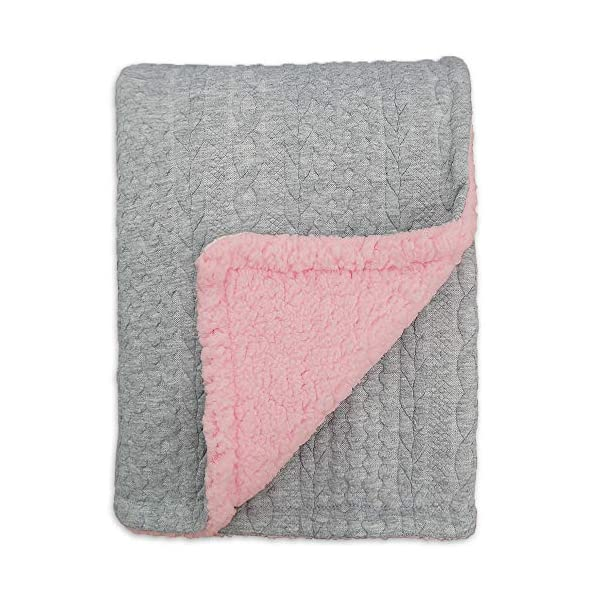 BlueSnail Toddler Knitted Blanket with Plush Shepra Fleece Layer for Boys and Girls (Light Grey+Pink, 40W X60L)