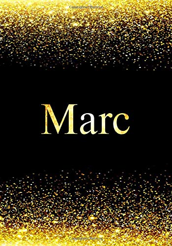 Marc Notebook: Printed Glitter Black and Gold , Notebook Journal, 110 pages, 7x10 inch, Christmas gift , birthday gift idea