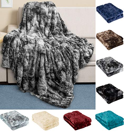 Everlasting Comfort Luxury Faux Fur Throw Blanket - Ultra...