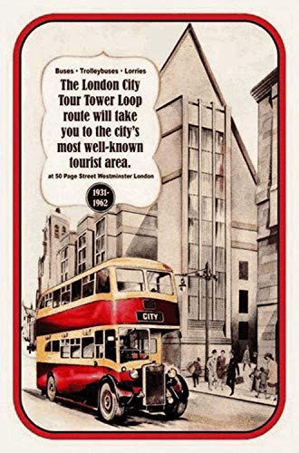 London City Bus Tower Loop Tour Metalen bord Gebogen metalen plaat Metal Tin Sign 20 x 30 cm