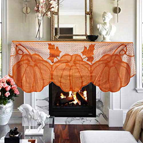 litty089 Fall Party Ornament, pompoen esdoorn blad met kant patroon open haard doek Cover, Decor voor Thanksgiving tafel Runner
