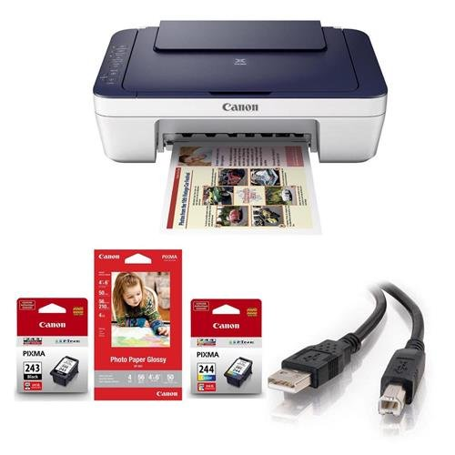 Canon PIXMA MG3022 Wireless Inkjet All-in-One Printer - Bundle With 6.5' USB Cable, Canon Ink Package w/PG-243 Black, CL-244 Color Ink Cartridge & 4x6