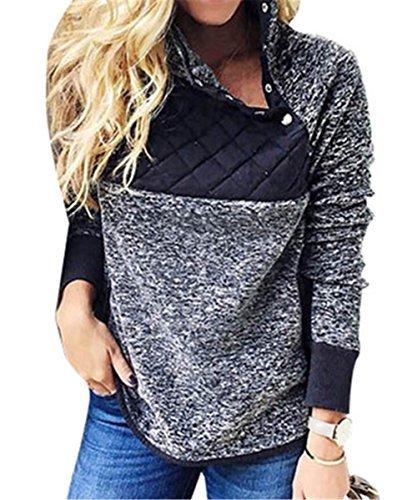 BETTE BOUTIK Women's Boyfriend Hoodies Cotton Color Block Tunic Tops Funnel Neck Blouse Blue X-Large