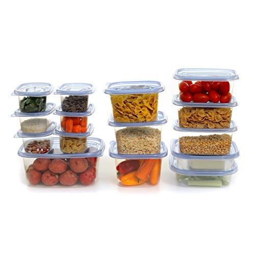 Zanzer 30-Piece Set Food Storage Container Freshkeeper, Easy To Open Transparent Blue Airtight Locking Lid Stackable Design