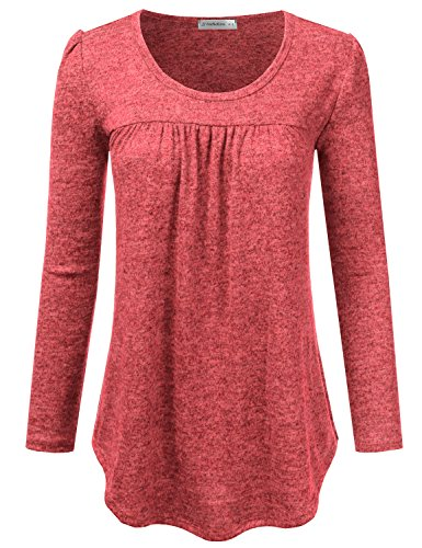 JJ Perfection Women's Round Neck Long Sleeve Pleated Blouse T-Shirt Top NEONCORAL 2XL