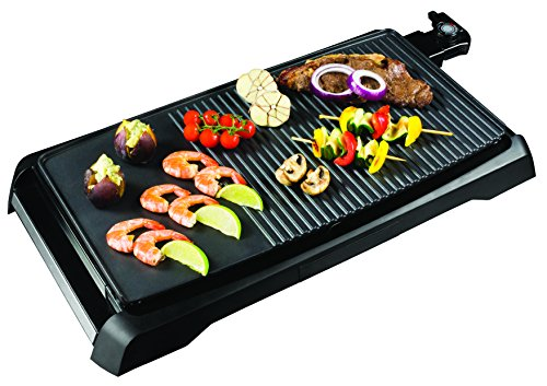 Health and Home 2-in-1 Nonstick Indoor Smokeless Electric Griddle ,21 Inch Extra Large Surface With Slide-Out Drip Tray Oil Collection ,Adjustable 5-Level Thermostat,Family Size Electric Griddle