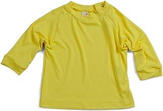 Camiseta Raglan Praia Manga Longa Amarela Com Fator de Proteção UV 50+ - Bebê Unissex