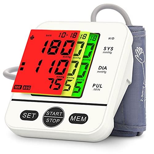 Blutdruckmessgerät Oberarm, Digitales Blutdruckmessgeräte für Blutdruck und Herzfrequenz, 2*99 Speicherplätz, 22cm-40cm Blutdruckmanschette, Blood Pressure Monitor mit 3-Farbiges Großes Display