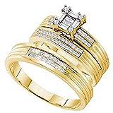 Silvernshine gioielli 0.60ct SIM.Diamante invisibile anello di fidanzamento Trio set lui e lei oro giallo 14K FN e Argento, 54 (17.2), colore: Yellow, cod. SNSTRS99-YG_325