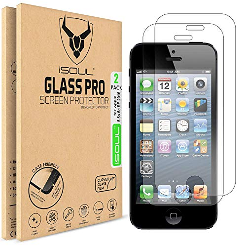 iSOUL Verre Trempé pour iPhone SE 5s iPhone 5 5C 5SE Film Protection Ecran, Vitre Protecteur 9H Dureté, sans Bulles, 2.5D Arrondi pour iPhone 5, 5S, SE, 5C et 5SE [2 Pièces]