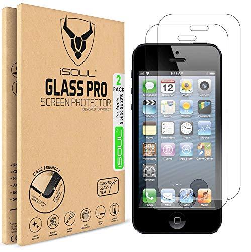 iSOUL-Pellicola salvaschermo in vetro temperato infrangibile per iPhone 5 5S SE, pellicola di protezione in vetro temperato trasparente da 0,3 mm, durezza 9H, pellicola [Compatibile con 3D Touch]