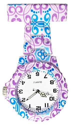 Ellemka JCM-2102 - Reloj Enfermera FOB de Bolsillo Clip Médico Medicina y Enfermería Analógico Funcional Cuidado-s Hospitalario-s Quarz Cuarzo Correa Estilo - Blue Violet Henna