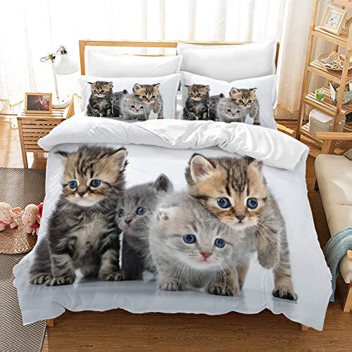 XFMF Katze Kinderbettwäsche,3D Katzenmotiv Bettbezug Set Kissenbezug,Mikrofaser,mit Reißverschluss,Katze Motiv für Kinder Teenager (1,135×200cm)