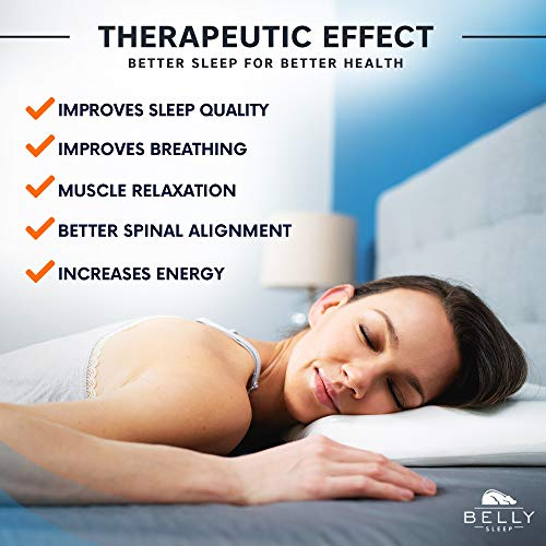 Belly Sleep Gel Infused Memory Foam Pillow for Stomach and Back Sleepers - Slim, Hypoallergenic, Therapeutic, and Ergonomic for Perfect Head, Neck, and Back Support. (Removable Bamboo Cover Included)