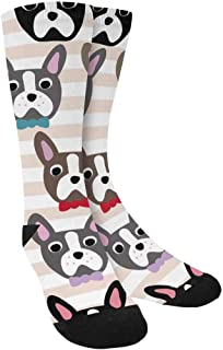 INTERESTPRINT Cute Dog Face Cartoon French Bulldog Novelty Unisex Custom Socks for Traveling, Playing