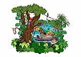 nikima - 070 Wandtattoo Das Dschungelbuch Mogli Balu Shir Khan Bagkira Kaa - in 3 Größen - niedliche Kinderzimmer Sticker Babyzimmer Aufkleber süße Wanddeko Wandbild Junge Mädchen (1250...