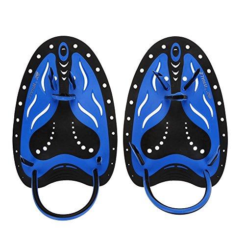 Alomejor Aletas de Mano de natación, para Buceo, Equipamiento de Entrenamiento de Aleta de escuba, Azul, Medium