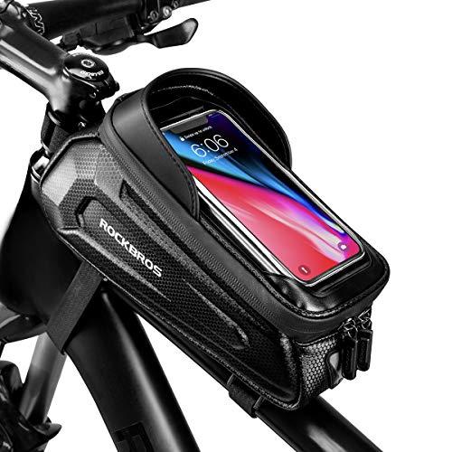 "ROCKBROS Bike Phone Bag Bike Pouch Bicycle Front Frame Bag Waterproof Top Tube Handlebar Bag Bike Phone Mount Bag EVA Cycling Storage Bag for iPhone 11 XS Max XR 8 7 Plus Accessories Below 6.8"""