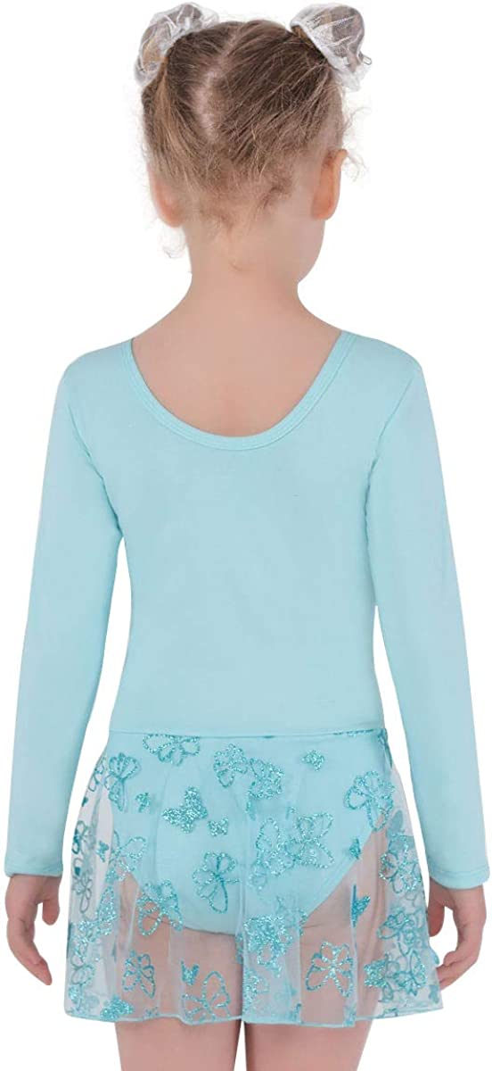 NOLA Girls Gymnastics Leotards with Long Sleeves and Skirt - Dance Ballet Unitard Sparkly Outfit with Tutu for 4-10Y