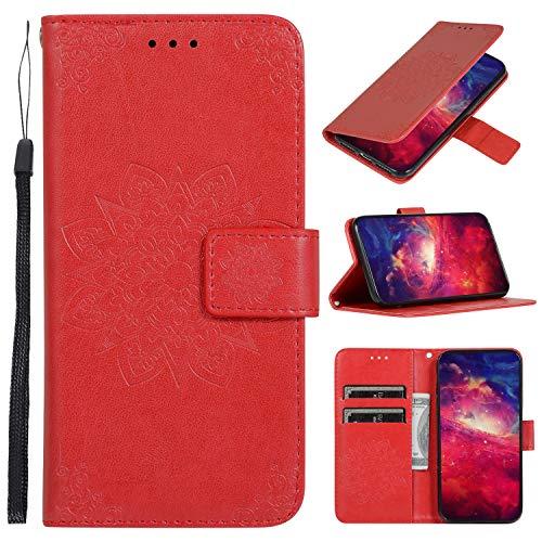 Snow Color Xiaomi Mi 9 Lite / CC9 Hülle, Premium Leder Tasche Flip Wallet Case [Standfunktion] [Kartenfächern] PU-Leder Schutzhülle Brieftasche Handyhülle für Xiaomi Mi 9 Lite - COCDD010600 Rot