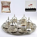 SALE (SET of 6) Ottoman Turkish Greek Arabic Coffee Espresso Serving Cup Saucer Set SILVER