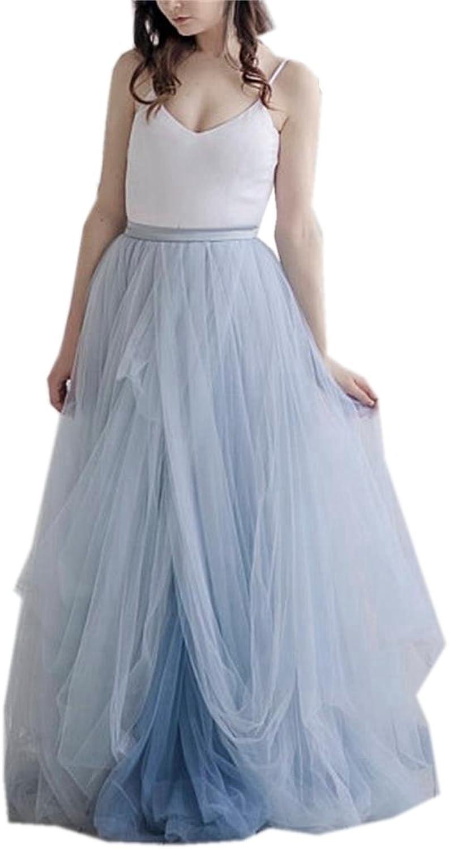 Maricopyjam Women's Boho Satin Long Wedding Dress Tulle Beach Wedding Gown